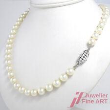Perlenkette 14K Weißgoldschließe mit 10 Brillanten ca. 0,5 ct  - 61 cm