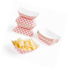 50 Red & White Disposable Paper 1-Pound Food Trays Cardboard Plates Boat Baskets