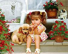 40X50CM Girl & Dog Diamond Embroidery 5d Diamond DIY Painting  Cross Stitch