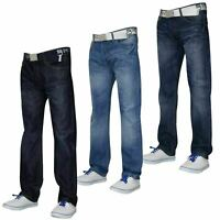 Mens Straight Leg Jeans Regular Fit Cotton Denim Pants Casual Trousers Free Belt