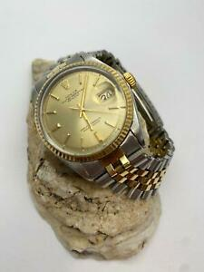 Rolex Mens Datejust Two-tone 36mm Champagne Dial From 1970 Jubilee Watch 1601