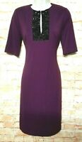 Suzi Chin for Maggy Boutique Eggplant Women Size 4 Sheath Dress Keyhole Neck