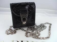 NWT NIB La Perla Black Python Leather Micro Crossbody Necklace Bag $780