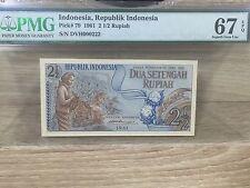 "1961 Indonesia 2 1/2 ""Dua Setengah"" Rupiah P-79  PMG 67 EPQ"