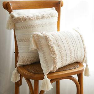Modern Pillow Cover Cushion Case Simple Tufted Tassel Geometric Beige Dector Car