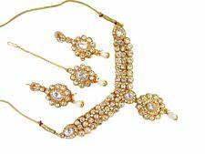 Indian Bollywood Bridal Traditiional Silver Kundan CZ Ethnic Fashion Jewelry Set