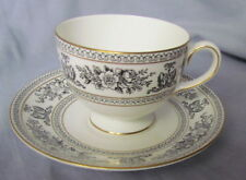 Wedgwood Black Columbia Cup and Saucer Set, Gold Trim. Griffin Design, R4418