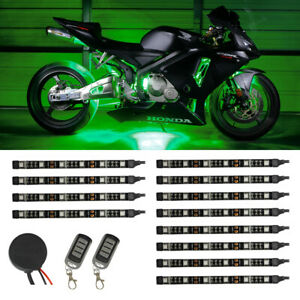 NEW! 12pc GREEN SMD LED NEON FLEXIBLE MOTORCYCLE LIGHTING KIT w REMOTE CONTROL