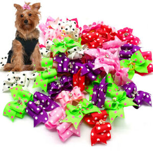 20/50/100pcs Pet Dog Cat Bows with Rubber Bands Cute Polka Dots Topknot Grooming