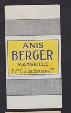 Ancienne étiquette Allumettes France BN116931 Anis Berger Alcool Marseille
