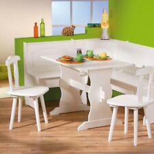 Corner Dining Set White Wooden Kitchen Furniture Table Chairs Bench Solid Pine