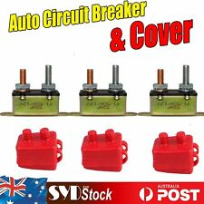 50AMP 12V Circuit Breaker Automatic Auto Boat Fuse Reset & PVC RED Boot (3 Sets)