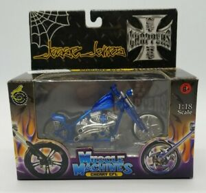 Jesse James West Coast Choppers Diecast Cherry CFL Motorcycle 1:18 Scale Blue