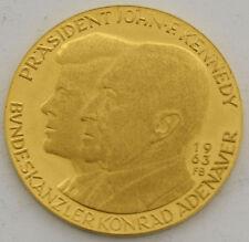 1963 U.S JOHN F KENNEDY KONRAD ADENAUER MEDAL DOVE FRONDS GOLD COIN RARE
