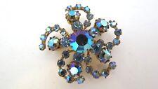 "Vintage Blue Aurora Borealis Brooch~Pin Sparkling 1 3/4"" Across Pinwheel Shape"