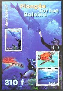 D414 FR. POLYNESIA Turtle, Whale, Diving Mini Sheet Mint NH