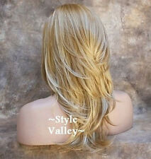 Blonde Mix 3/4 Wig Fall Hair Piece Long Straight w/ layered wavy ends Hairpiece