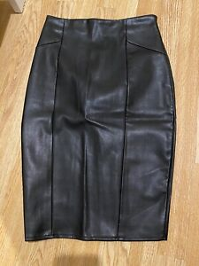 VINTAGE BLACK GENUINE LONG LEATHER PENCIL SKIRT WORK PARTY MEAL SIZE SMALL 8 10