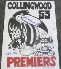 COLLINGWOOD  LOU RICHARDS  BOB ROSE  HAND SIGNED WEG POSTER