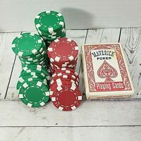 VTG 60 pcs Casino red green Poker Chips+Maverick Casino Playing Cards Vegas