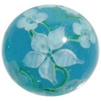 "22mm HIBISCUS Teal Blue/white flower Handmade art glass Marble ball 7/8"" SHOOTER"