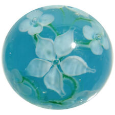 "22mm HIBISCUS Teal Blue/white flower Handmade art glass Marble ball 7/8"" SHOOTER"