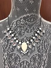 H&M NWT Faux White Gems Drop Grey Gray Statement Necklace