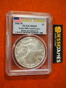 2006 W BURNISHED SILVER EAGLE PCGS MS69 FLAG FS FROM THE 20TH ANNIVERSARY SET
