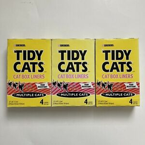 (3) Tidy Cats Litter Box Liners Heavy Duty Tear Resistant 4 Liner Each