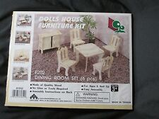 New Vintage Doll House Furniture Kit Wooden Dining Room Set 6 Pc Lucky Star F202