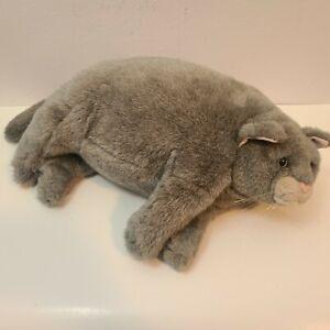 """Fat Cat Plush 23"""" Dakin Applause Duchess Kitty Chubby Gray Laying Sleeping"""