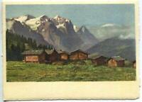 VINTAGE WETTERHORN EIGER SWISS ALPS HOUSES LITHOGRAPH SWITZERLAND COLOR PRINT C