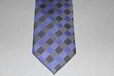 Nuevo Hombres Corbata Aglutinante seda largo 150cm Púrpura Gris Cuadro emb.orig