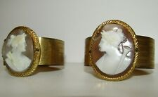 RARE PAIR OF ANTIQUE EARLY VICTORIAN CARVED SHELL CAMEO BANGLES,GODDESS VICTORIA