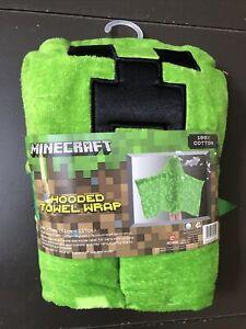 """Minecraft Hooded Towel Wrap 24x50"""" 100% Cotton NEW! Green Black Child Children"""