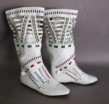 Vintage L J Simone Woven White Leather Monteray Boots, Size 7 1/2 B