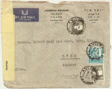 1941 Tel Aviv censored business airmail cover WW2 Palestine->Bury GB