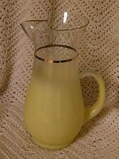 Blendo Yellow 36 oz Pitcher MCM Barware Retro Gold Band Frosted Modern