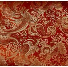 "RED/GOLD PAISLEY METALLIC BROCADE FABRIC 60"" WIDE 1 YARD"