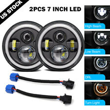 2Pcs 7Inch LED Headlights High Low Beam DRL Halo Lamp for Jeep Wrangler JK TJ LJ
