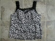 A Pea in the Pod Maternity Medium Tank Top Shirt 100% Silk Black White Leopard