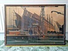 More details for norman wilkinson 'shipbuilding on the clyde', lner/lms poster, 1923-1947. framed
