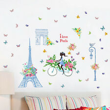 Paris Eiffel Tower Flower Wall Sticker Removable Mural Vinyl Decal Room Decor