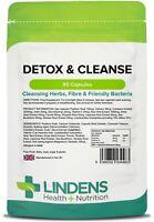 Detox & Cleanse - 90 Capsules Cleaning Herbs Konjac Probiotics Inulin Lindens UK