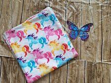 Handmade Flannel colorful unicorn print Receiving Baby Blanket 42 x 45 inches.