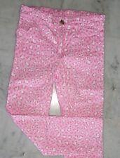 Pantalon motif leopard rose blanc bouton strass poches devant coeur H&M 6 7 ANS