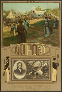 1912 DUPONT GUNPOWDER CHROMOLITHOGRAPH ADVERTISING CALENDAR / SIGN 20x30