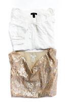 J Crew  Womens Sleeveless Tank Top White Gold Metallic Silk Size 6 LOT 2