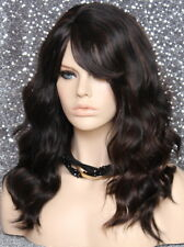 Human Hair Blend Long Black Auburn mix Wavy HEAT SAFE Wig w. bangs MAR 1B-30