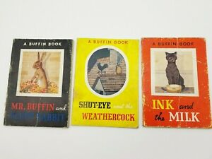 3X VINTAGE A BUFFIN BOOK-MR BUFFIN & FLUFF RABBIT+THE INK & MILK+SHUT-EYE WEATHE